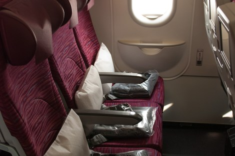 Qatar Airways, A320, interiér třídy Economy, exit row, foto: Zdopravy.cz/Josef Petrák