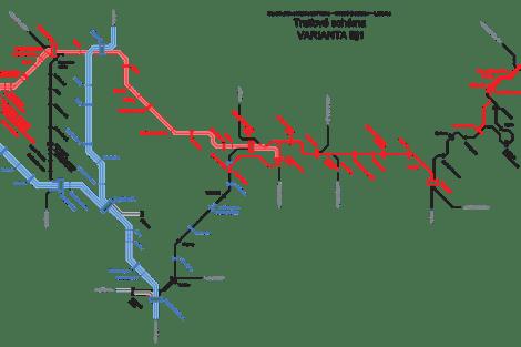 Plán na zrychlení vlaků Praha - Liberec. Hlavní změny jsou mezi Prahou a Mladou Boleslaví přes Všetaty, u Mladé Boleslavi má vzniknout Dalovická a Bezděčinská spojka, z Hodkovic do Šimonovic tunel.