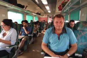 Šéf ČD Pavel Krtek ve vlaku z Dillí do Agry. Foto: ČD