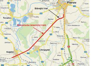 Trasování úseku Kojetín - Přerov. Foto: SŽDC