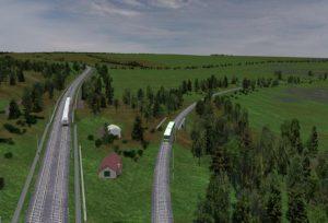 Vizualizace koridoru za Ejpovicemi směr Plzeň. Stará trať vpravo, nová přeložka vlevo.  Autor: SŽDC