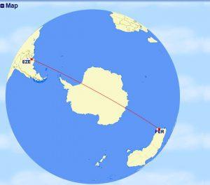 Nejkratší trasa z Buenos Aires (EZE) do Perthu (PER). Foto: Great Circle Mapper