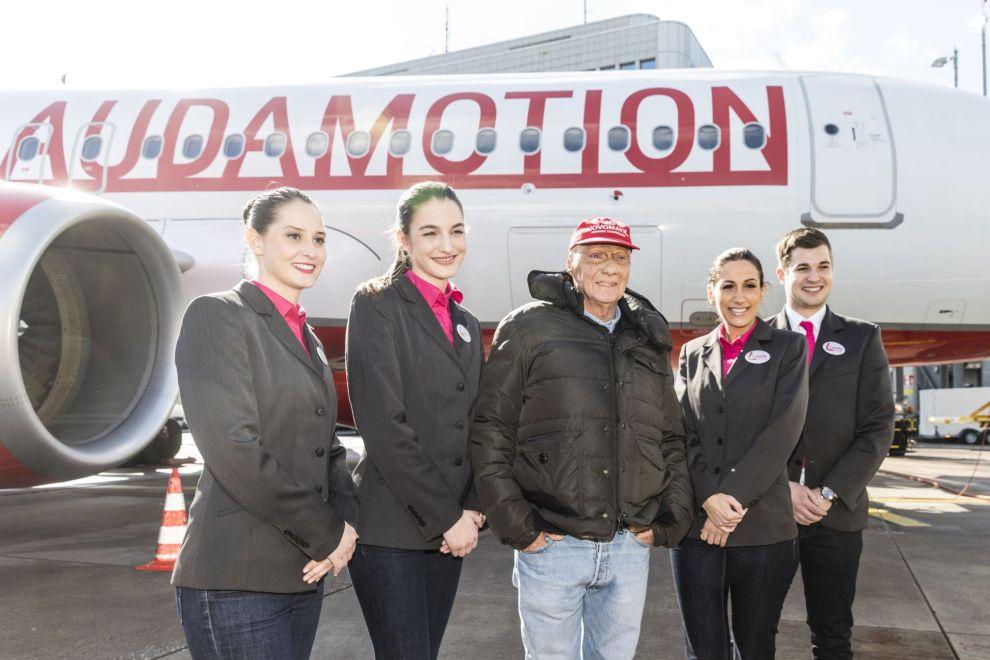 Start prvního letu Laudamotion a zakladatel firmy Niki Lauda. Foto: Laudamotion