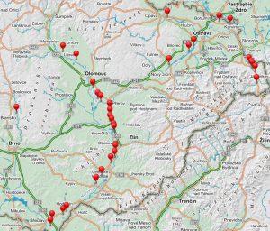 Mapa přejezdů, na kterých chce SŽDC zavést sekvenční sklápění. Foto: SŽDC