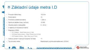 Metro I.D, základní údaje. Pramen: DPP