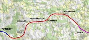 Mapa nového úseku mezi Sudoměřicemi a Voticemi. Foto: SŽDC