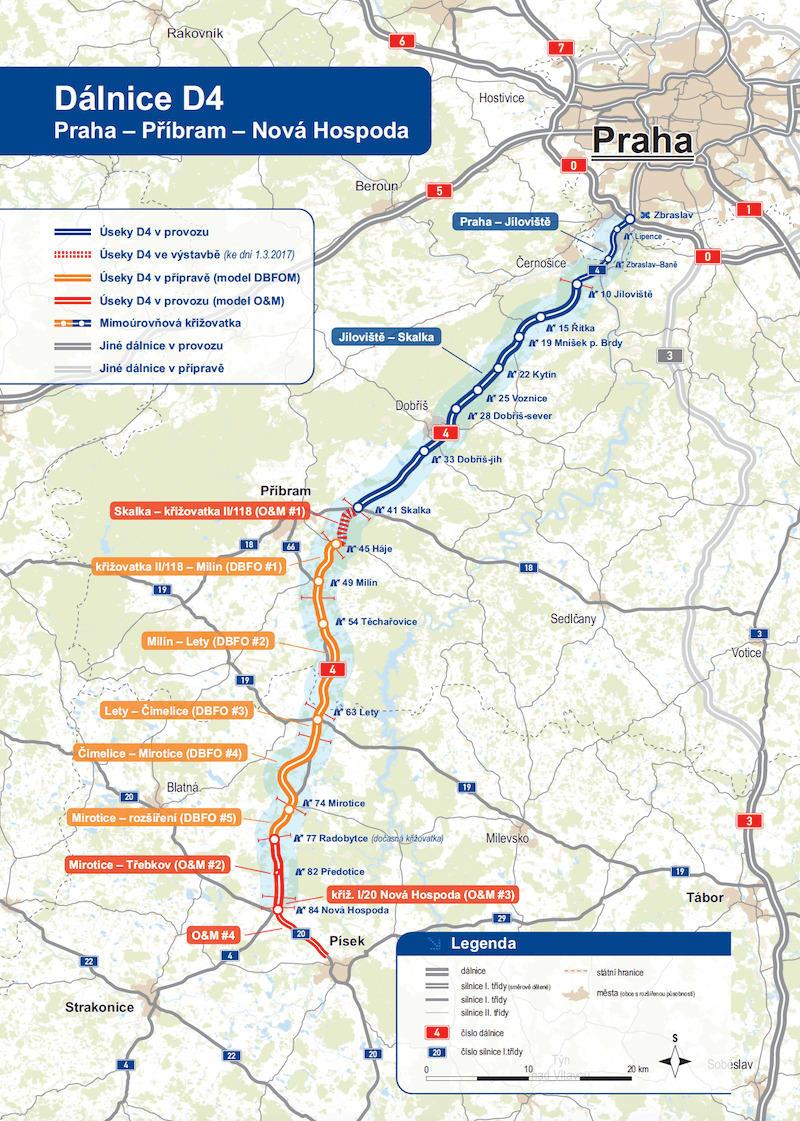 Trasa dálnice D4 včetně nového úseku pro PPP projekt. Foto: MDČR