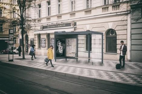 Návrh nového vzhledu pražských zastávek, 6. cena, Pavla Hradilová & Nela Lišková. Praamen: IPR Praha