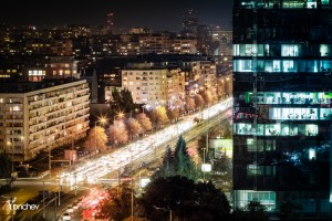 Sofia at Night and blvd. Bulgaria
