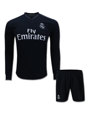 Real Madrid Long Sleeves Football Jersey And Shorts Away18 19 Season