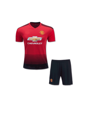 Kids-Manchester-United-Football-Jersey-And-Shorts-Home-18-19-Season
