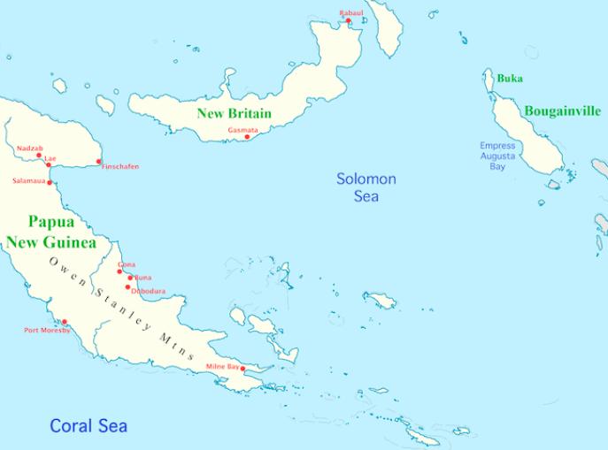 Map of New Guinea and Solomon Sea area