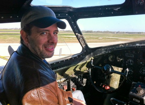Clint Hayes in B-17 pilot seat