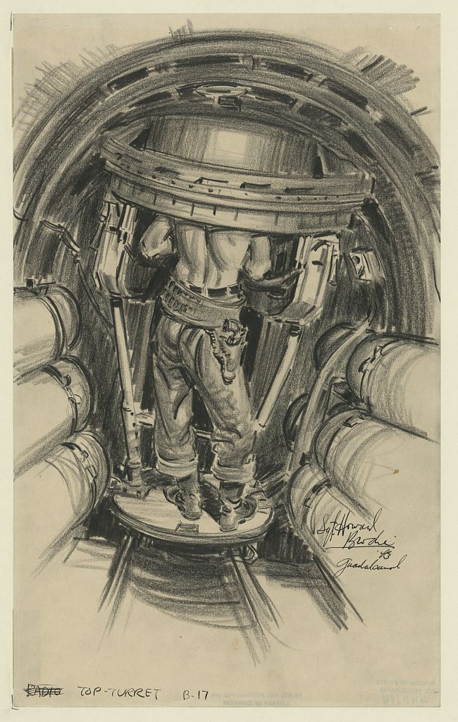 Crewman in B-17E top turret