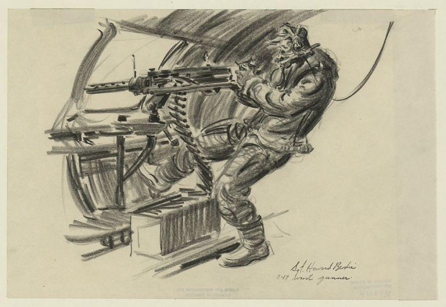 B-17 waist gunner firing gun