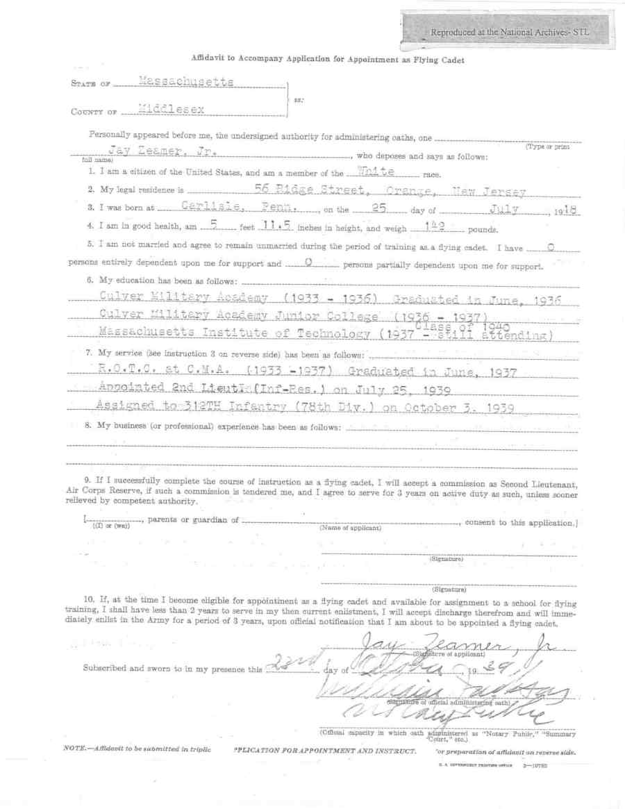 Zeamer affidavit for flying cadet