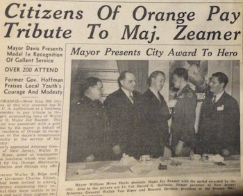 Article about Orange honoring Zeamer