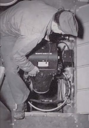 Photo of K-17 camera being installed in a B-17
