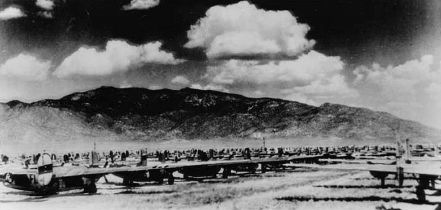 Photo of scores of bombers at aircraft graveyard, Oxnard, New Mexico, in 1946
