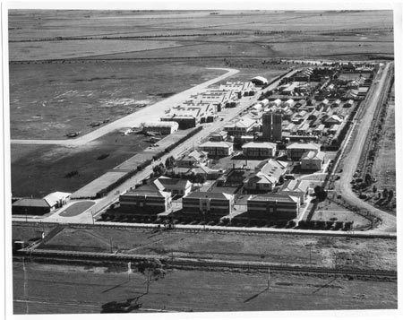 An aerial photo of Royal Australian Air Force airbase Laverton during World War II