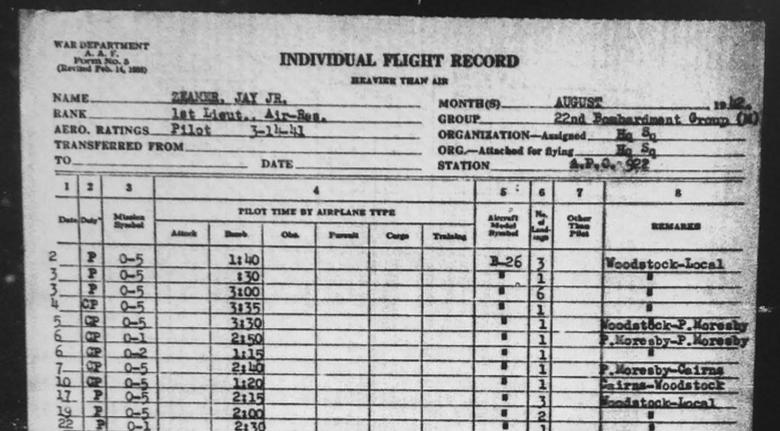 Screencap of Jay Zeamer individual flight record