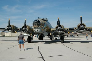 "Photo of Collings Foundation B-17G ""Nine-O-Nine"" showing the front and four engines"
