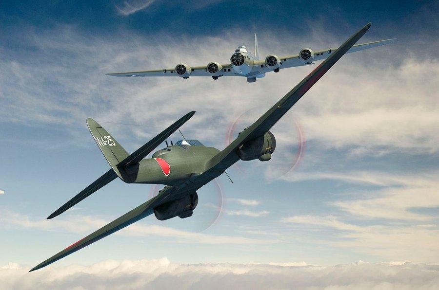 Artwork depicting Japanese J1N1 attacking B-17