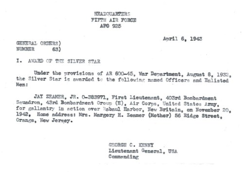 Official orders for Jay Zeamer's 1st Silver Star