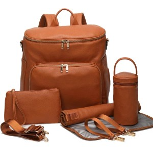 Nappy Bag Backpack Faux Leather Brown
