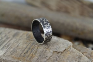 DIY wood ring with hammered silver