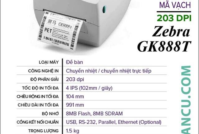 Máy In Mã Vạch ZEBRA GK888T 203 DPI
