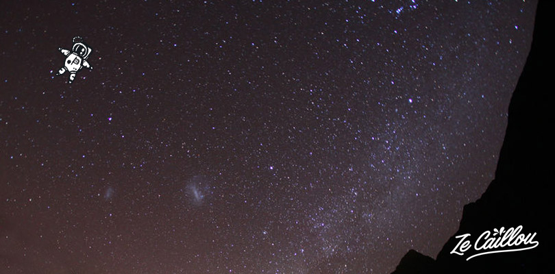 Stargazing in the perfect dark bleu sky of La Reunion at Les Makes