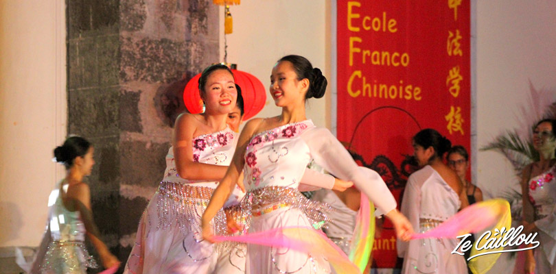 Traditional foulard dance for the Chinese New Year celebrations in La Reunion