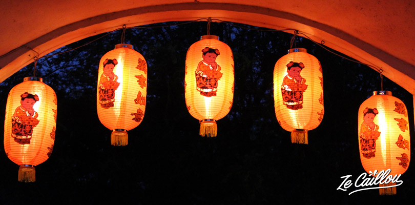 Red chinese lanterns in the entrance of the Chinese school dance in Saint-Paul