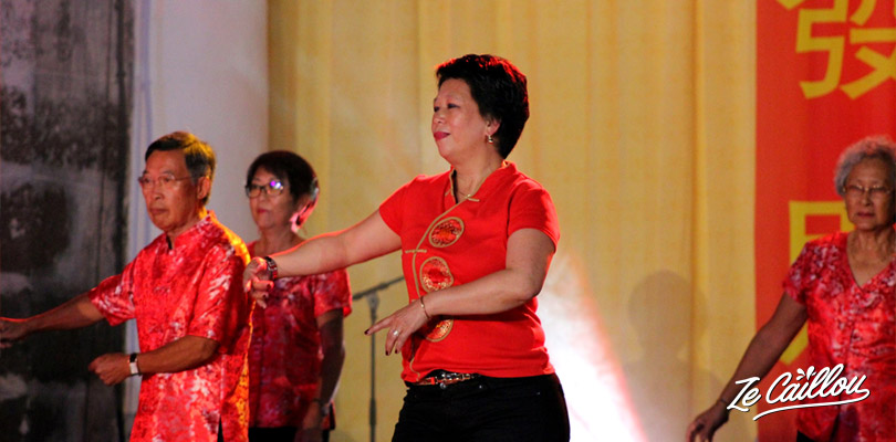 Traditional Chinese dance during the Chinese New Year celebrations in Saint-Paul
