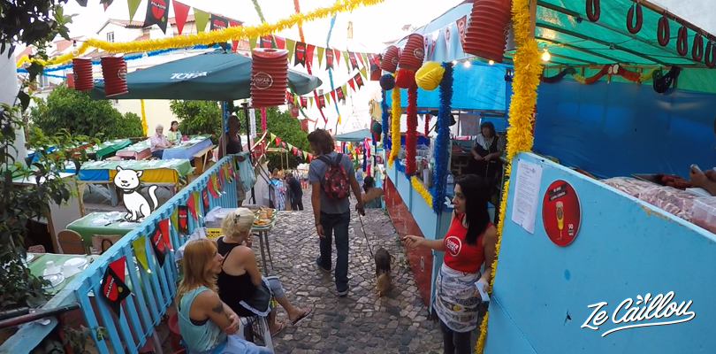 Alfama disctrict preparing street party for Santo Antonio celebrations
