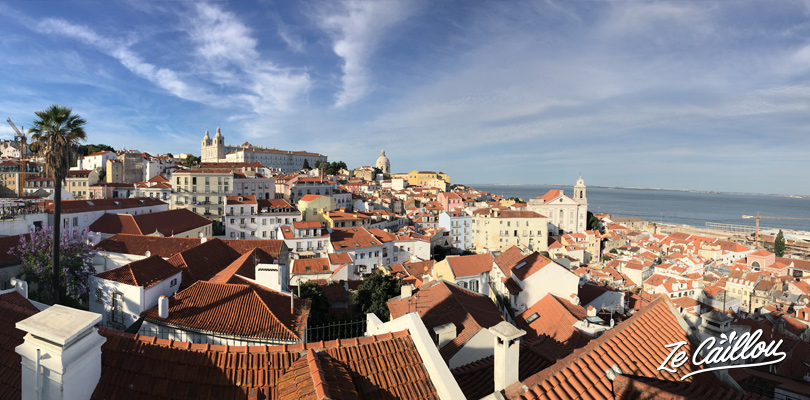 Beautiful panoramic view on the Alfama district roofs in Lisbon from the Santa Luzia place