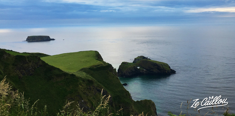 Impressive view on the Carrick-a-Rede bridge from a car park above in Northern Ireland