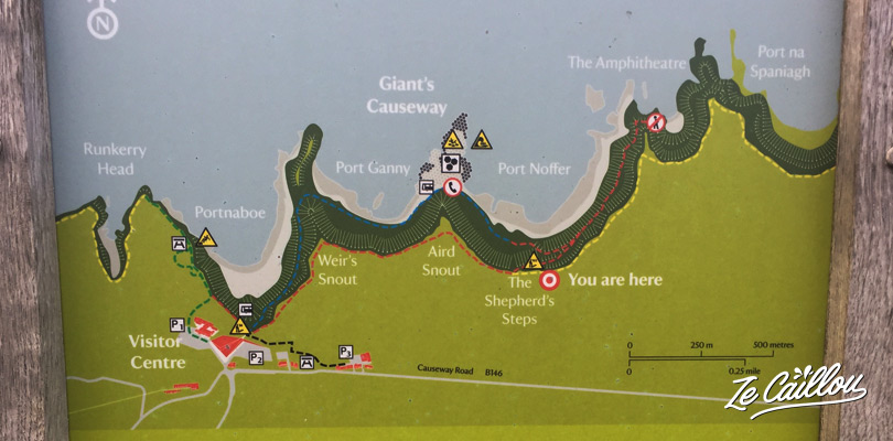A information map about the giant's causeway walk close to the shepherd's steps