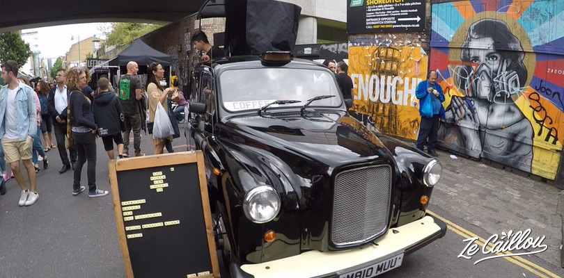 Have a coffee at Bricklane Market in this old Londonner black taxi