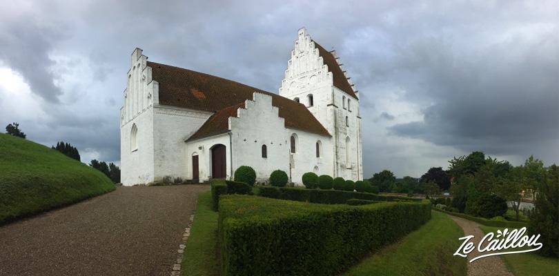 Elmelunde church in Mon Island where you'll find medieval frescoes