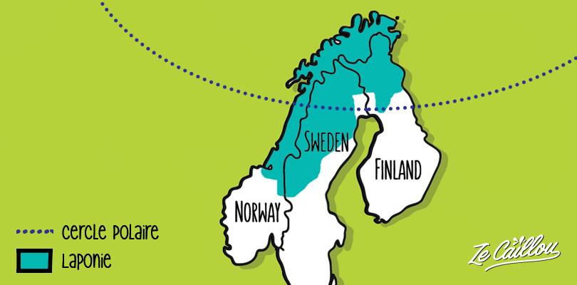 Carte de la Laponie et du cercle polaire en Norvège, Suède et Finlande.