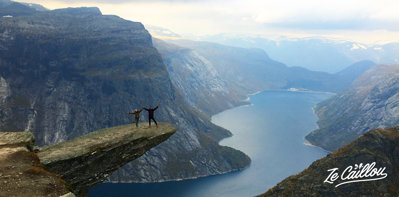 Perfect view of the Trolltunga stone after a great hike