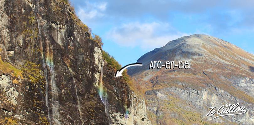 Apercevoir les arc-en-ciel dans la cascade des 7 soeurs du fjord de Geiranger en Norvège.