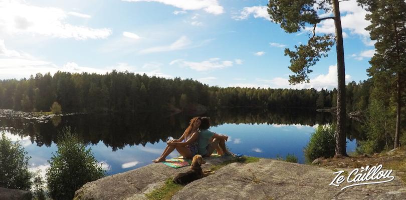 Pique-nique à Ulsrud au Sud de la Norvège proche d'Oslo, la capitale Norvégienne