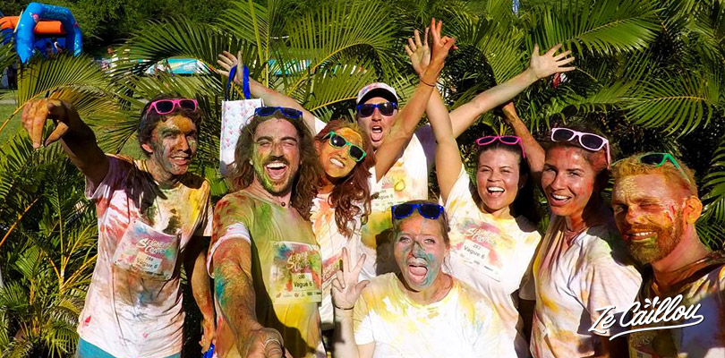 Run with your friend and family at the funny Rainbow Run at la Saline in Reunion Island.