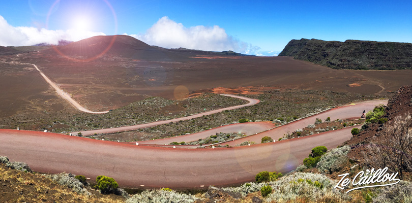 The very winding volcano road with a van roadtrip in reunion island.
