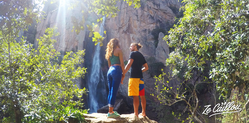Enjoy the beautiful Piscia di Gallo waterfall during your road trip in corsica in campervan.