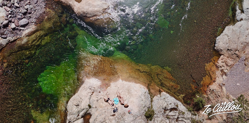 The clear green water of the Fango river in west Corsica.