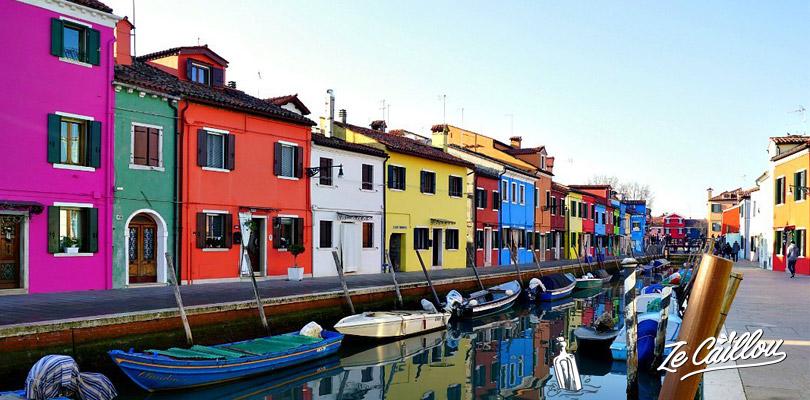 Les jolies maison colorées de l'île de Burano, la plus au nord de Venise.